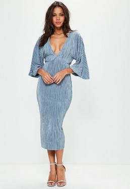 Blue Flared Pleated Plunge Midi Dress