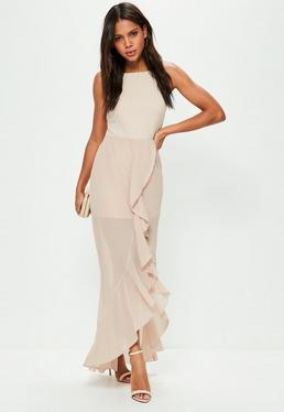 Nude 90's Neck Frill Detail Maxi Dress