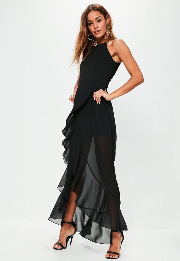 Black 90's Neck Frill Detail Maxi Dress