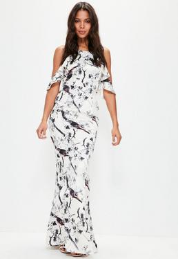 White Frill Cold Shoulder Printed Maxi Dress