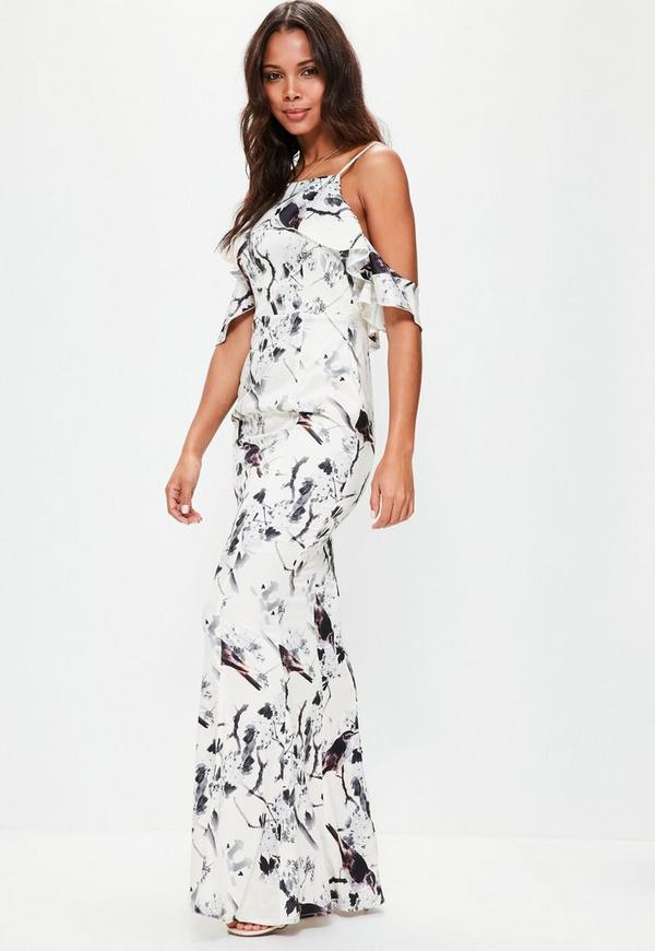 White Frill Cold Shoulder Printed Maxi Dress | Missguided