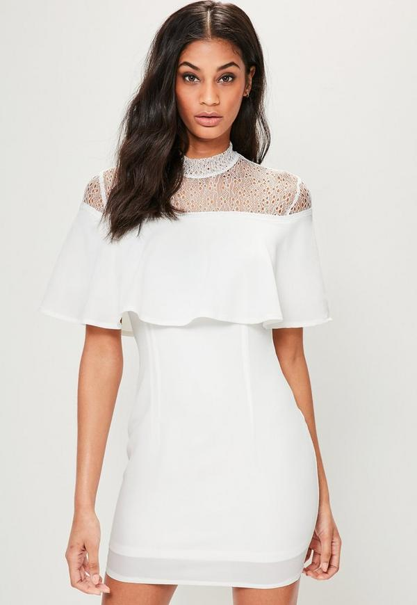 White High Neck Lace Overlay Bodycon Dress