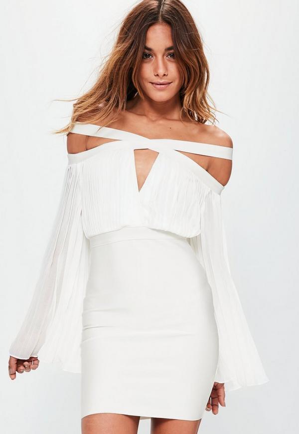 White Cross Neck Pleated Bandage Bodycon Dress