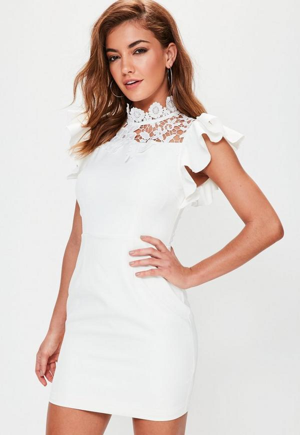 White High Neck Frill Short Sleeve Bodycon Dress