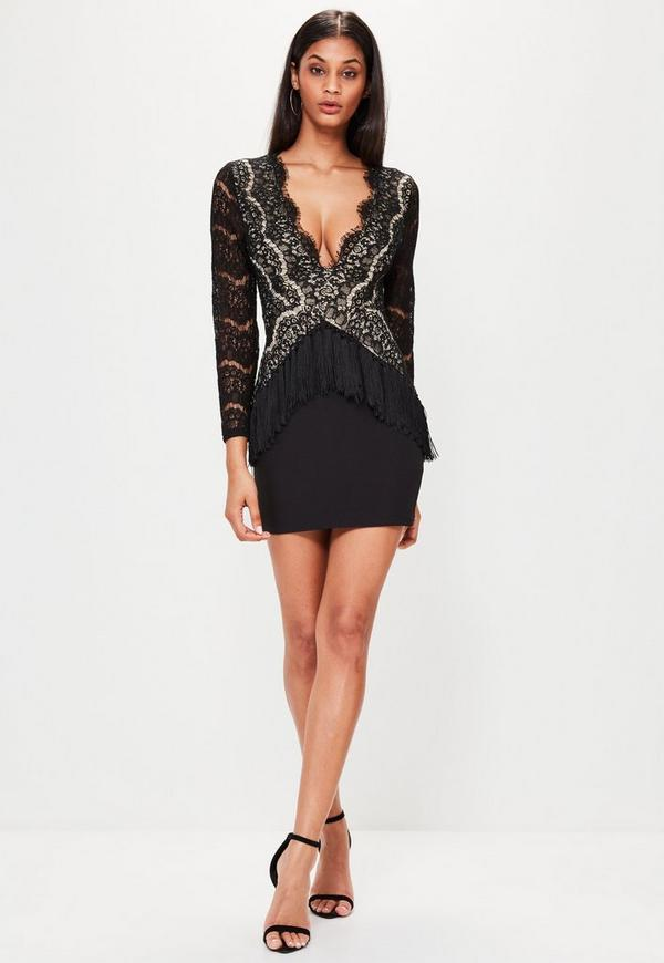 Black Plunge Lace Long Sleeve Bodycon Dress