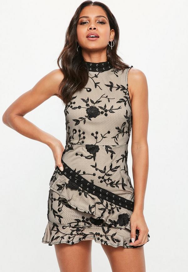 Black High Neck Lace Frill Detail Dress