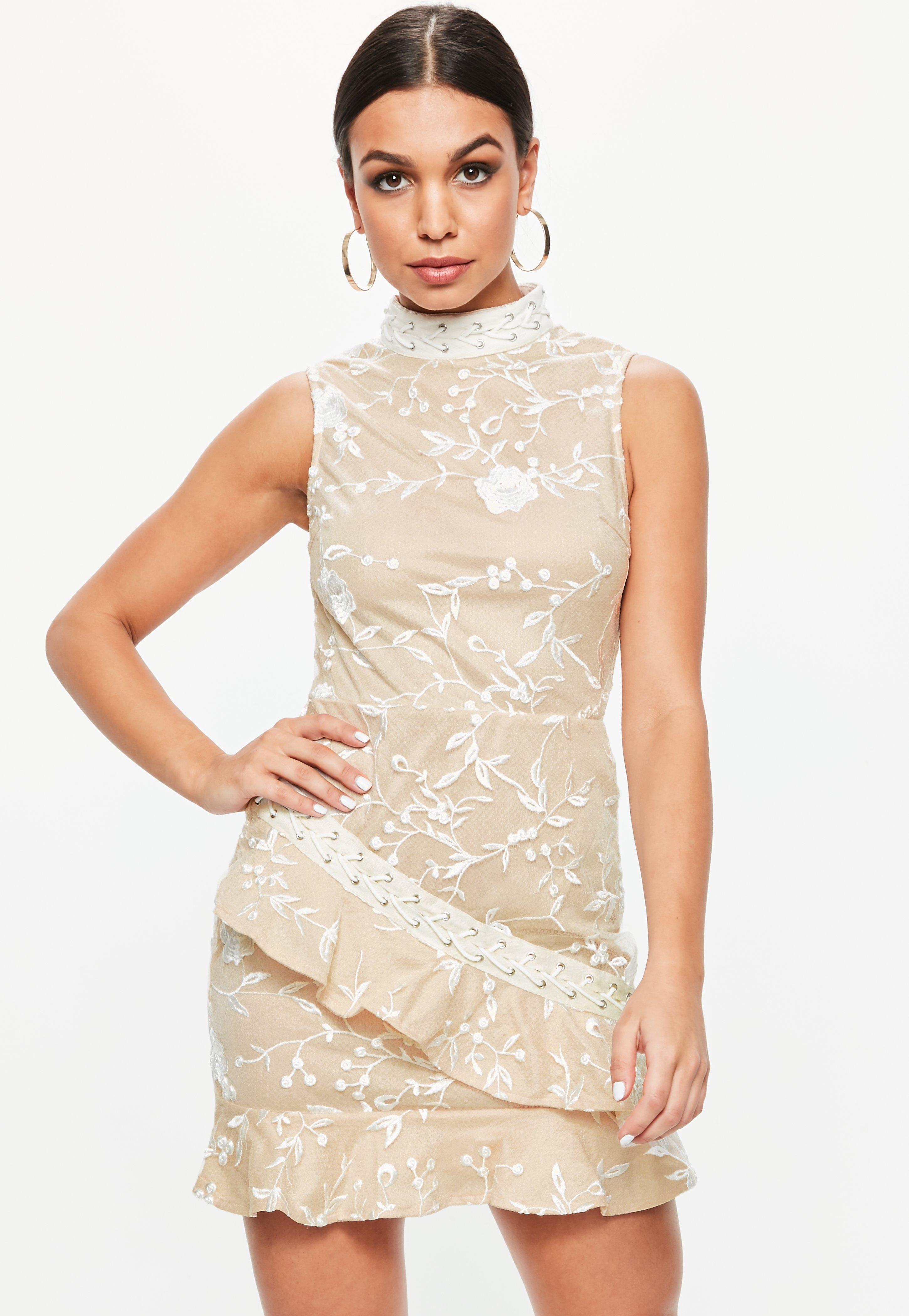Missguided Nude High Neck Lace Frill Detail Dress Pre Order 4OMUiYuUVj