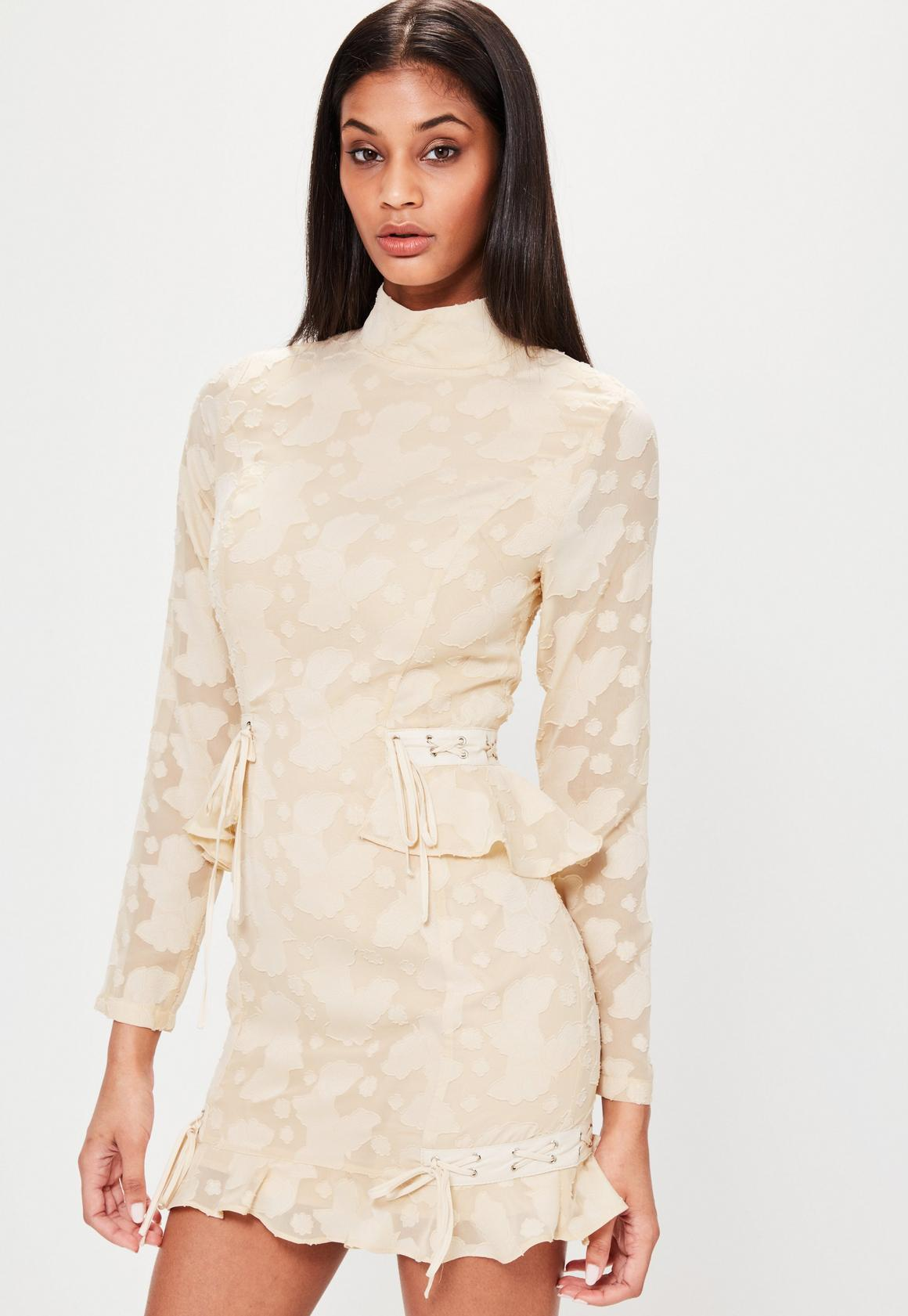 Nude High Neck Frill Hem Lace Bodycon Dress | Missguided