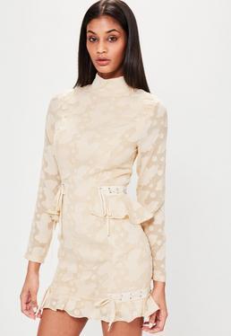Nude High Neck Frill Hem Lace Bodycon Dress