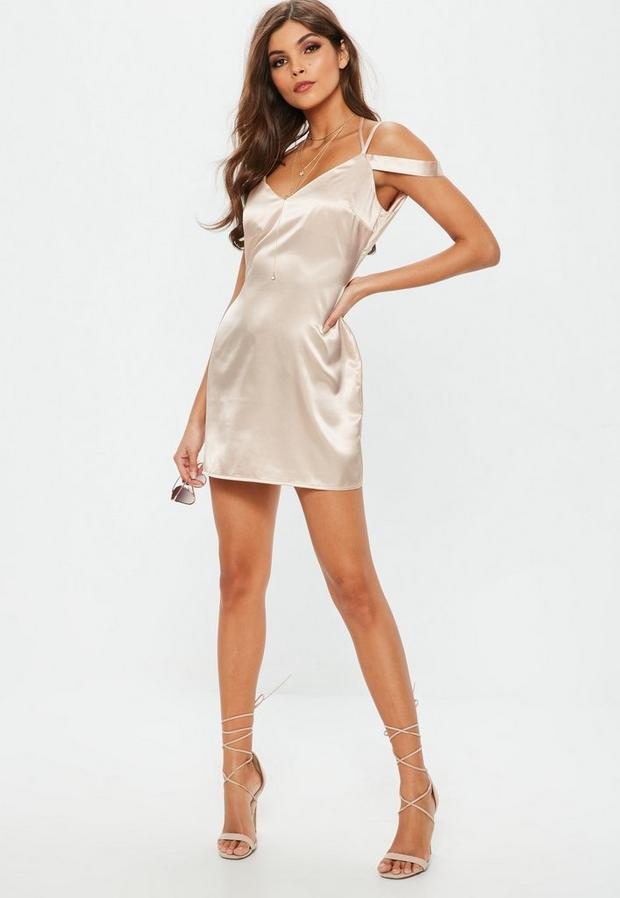Product photo of Nude strappy satin shift dress beige