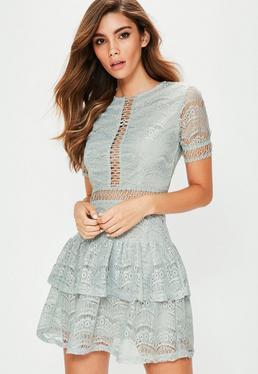 Grey Lace ladder Trim Ruffle Hem Dress