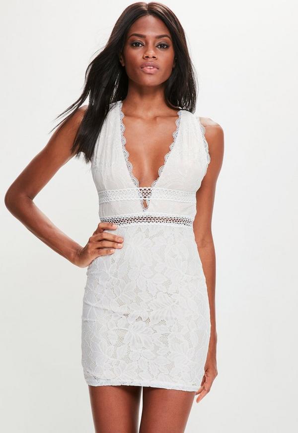 White Lace Plunge Sleeveless Dress