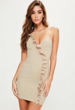 Nude Strappy Frill Detail Bodycon Dress