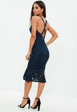Navy Strappy Lace Frill Hem Midi Dress