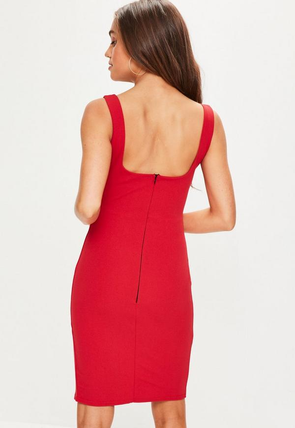 Red Square Neck Side Split Midi Dress Missguided