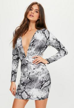 Grey Slinky Long Sleeve Bodycon Snake Dress