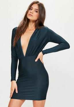 Blue Slinky Long Sleeve Bodycon Dress