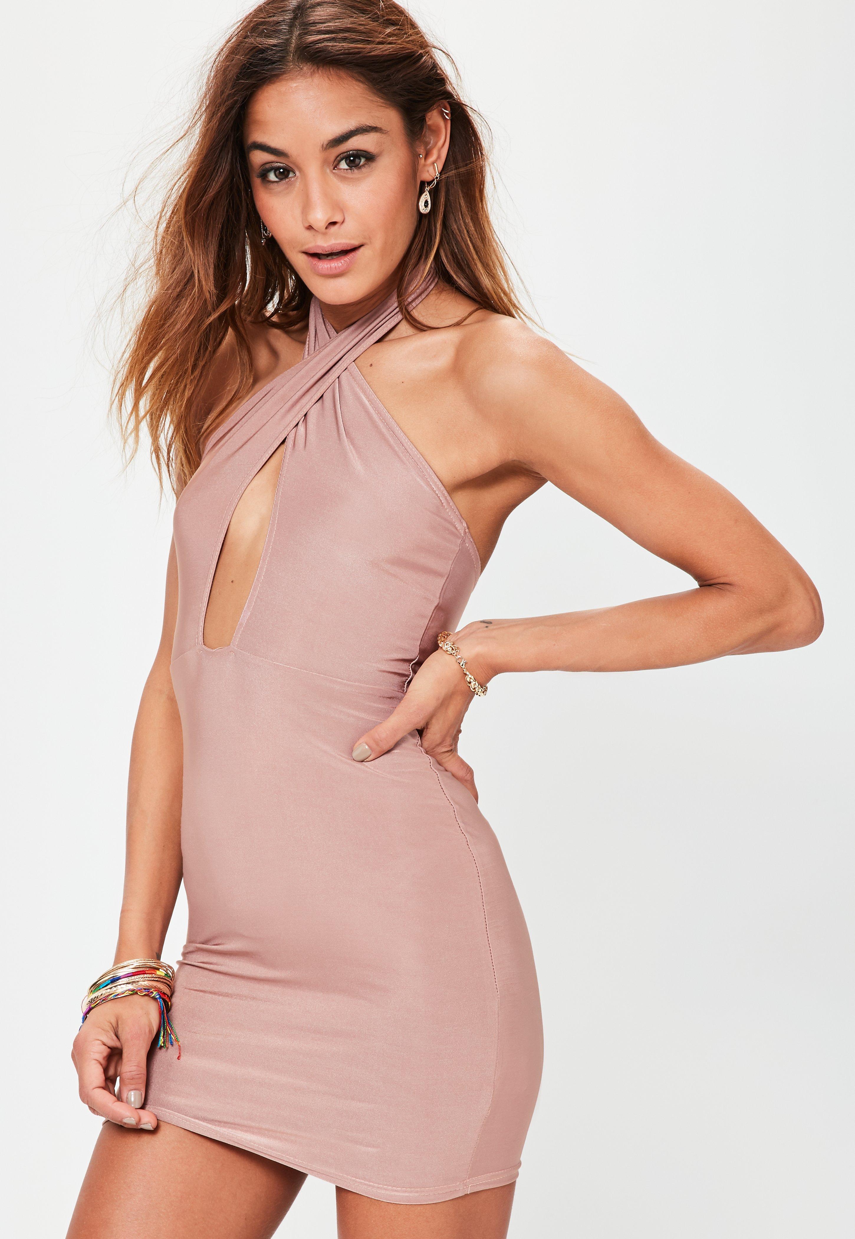 Pink Slinky Cross Neck Bodycon Dress