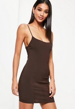 Brown Seam Detail Strappy Bodycon Dress