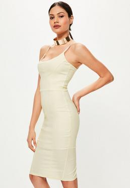 Cream Seam Detail Strappy Midi Dress