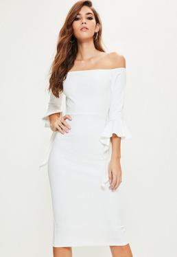 Biała sukienka midi bardot z szerokimi rękawami