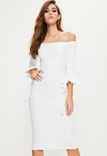 White Bardot Flared Sleeve Midi Dress Missguided Australia