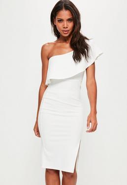Vestido midi asimétrico con volantes en blanco