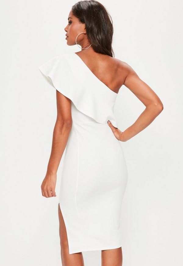 One Sleeve White Dresses