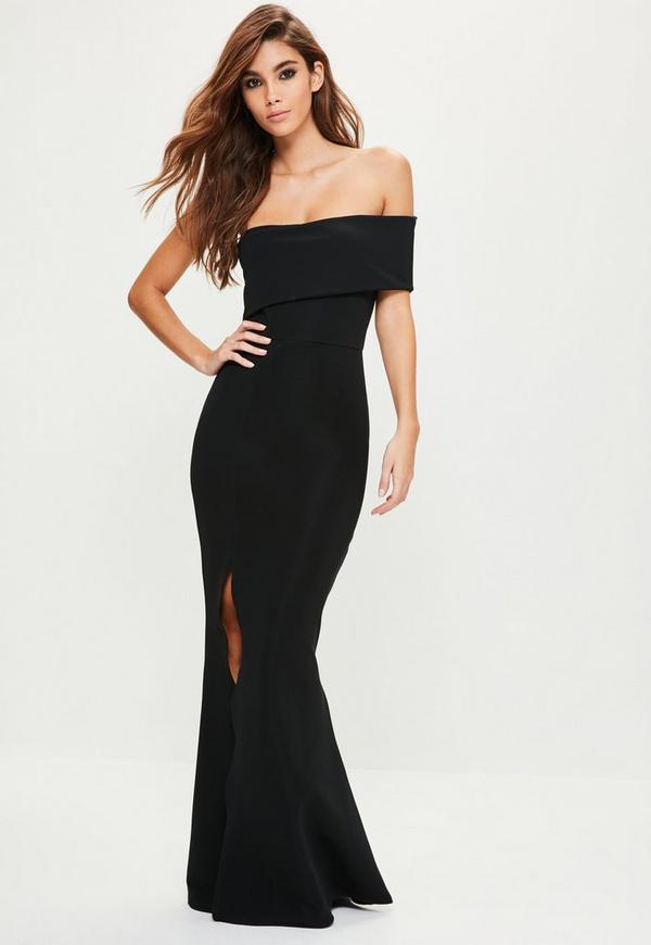 Black ruffle strapless maxi dress