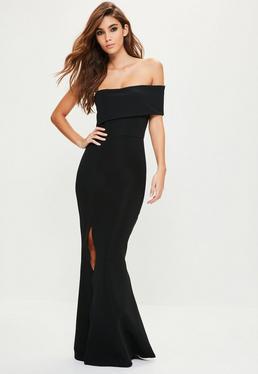 Vestido largo con detalle de hombro en negro