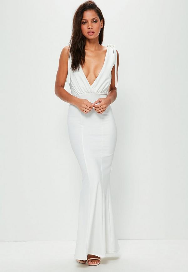 White Tie Shoulder Plunge Maxi Dress