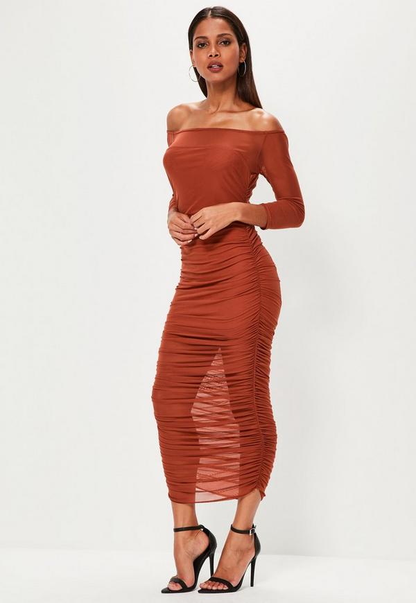 Orange Bardot Ruched Mesh Maxi Dress