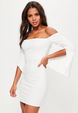 White Bardot Flared Sleeve Metal Detail Bodycon Dress