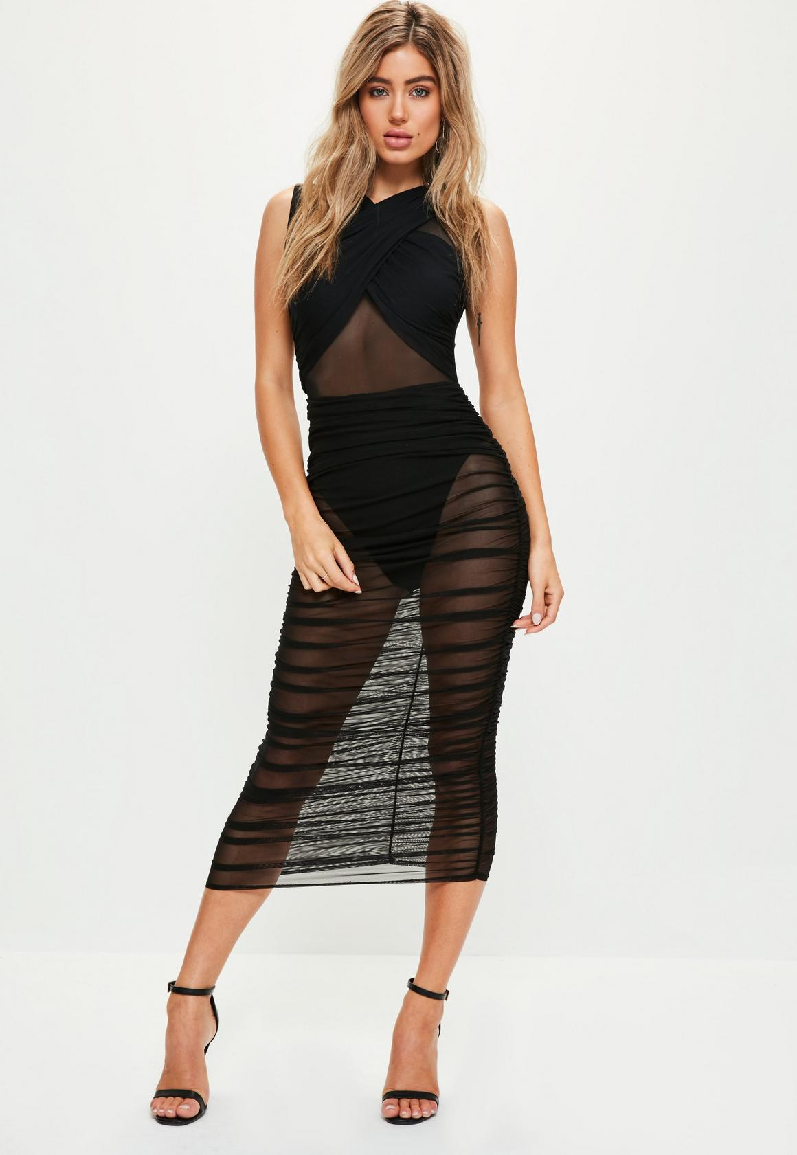 Black Sleeveless Mesh Wrap Ruched Maxi Dress | Missguided