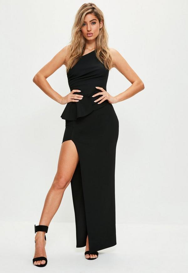 Black One Shoulder Peplum Maxi Dress