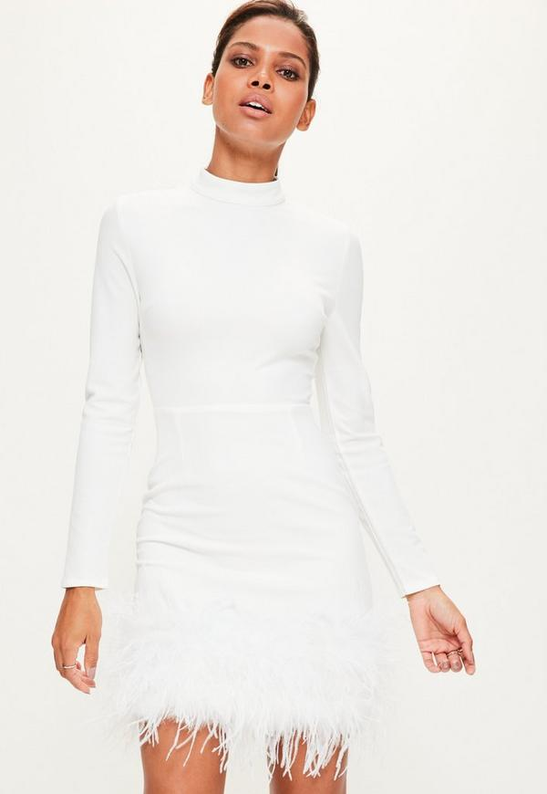 White High Neck Feather Trim Dress