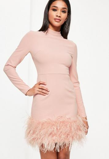 pink high neck feather trim dress missguided. Black Bedroom Furniture Sets. Home Design Ideas