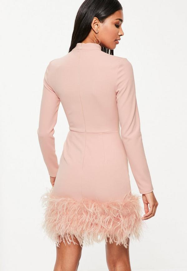 Pink High Neck Feather Trim Dress - Missguided