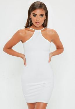 White Racer Neck Bodycon Dress