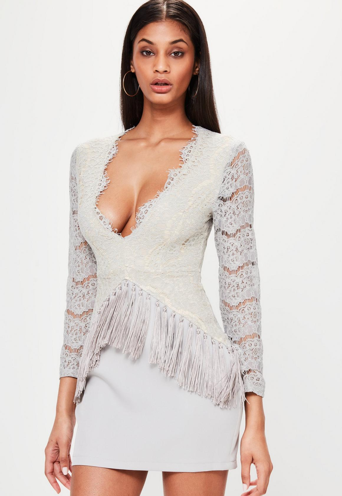 Grey Plunge Lace Long Sleeve Bodycon Dress | Missguided