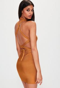 Brown High Neck Bandage Cross Back Dress