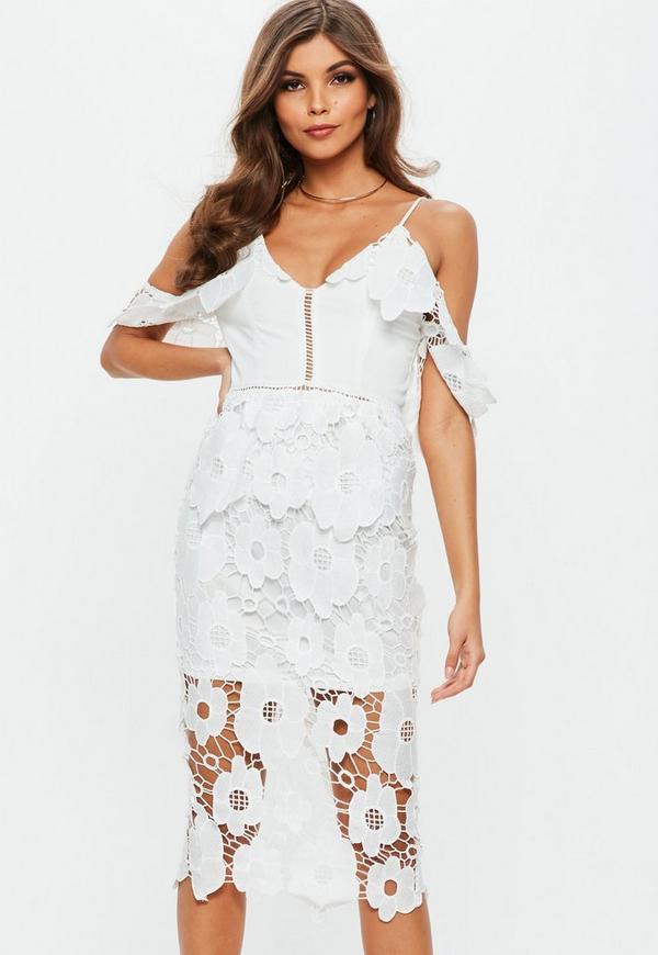 Weißes Cold-Shoulder Spitzen-Kleid | Missguided