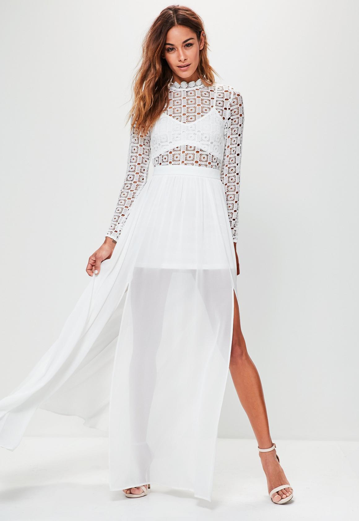 White dress crochet - White Crochet High Neck Long Sleeve Maxi Dress