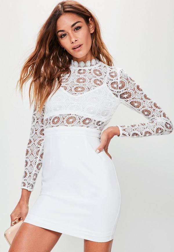 White Crochet High Neck Contrast Bodycon Dress
