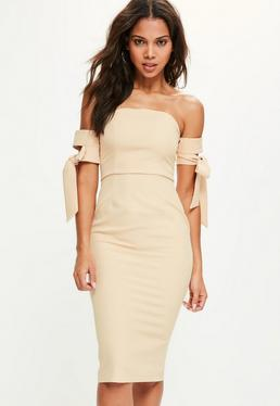 Nude Tie Bardot Sleeve Midi Dress