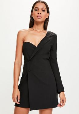 Black One Shoulder Button Blazer Dress