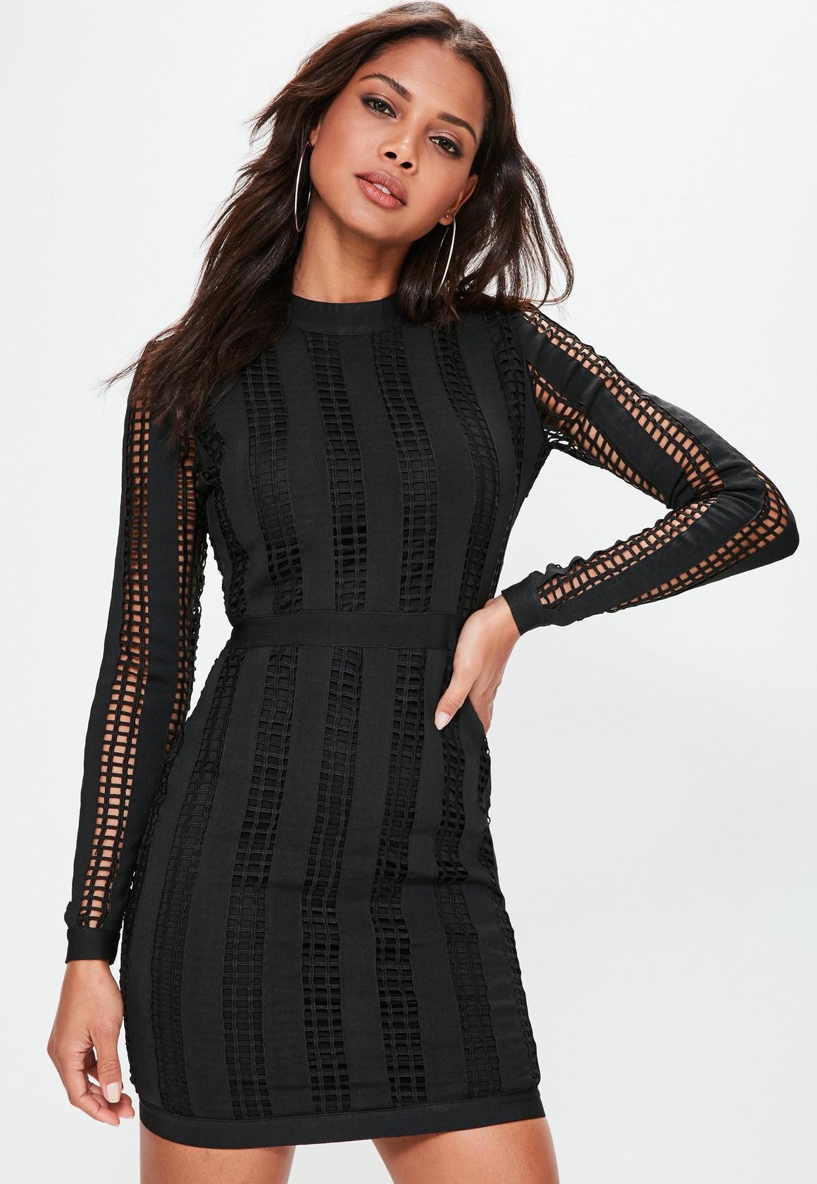 Black High Neck Long Sleeve Bandage Dress | Missguided