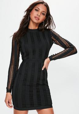 Black High Neck Long Sleeve Bandage Dress