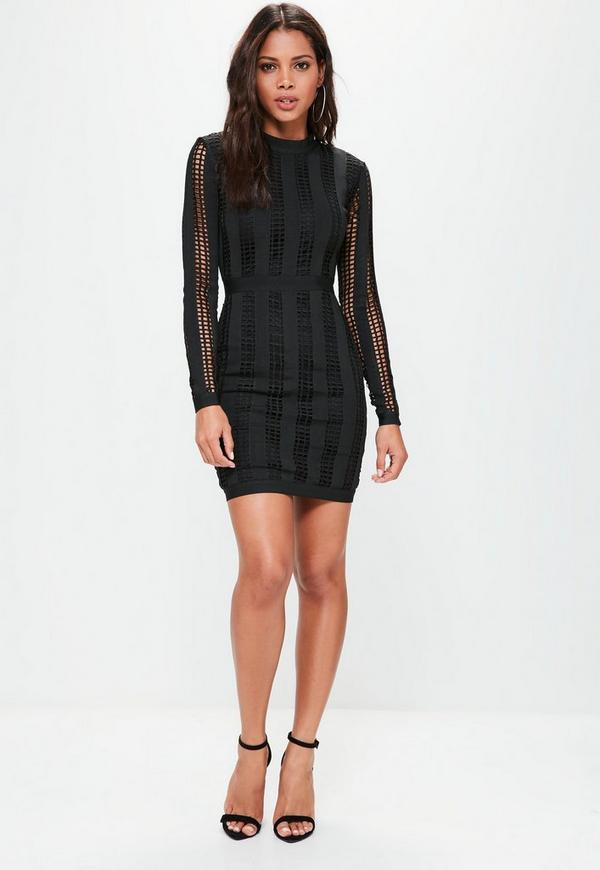 Black High Neck Long Sleeve Bandage Dress | Missguided