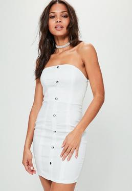 Vestido corto ajustado de palabra de honor en blanco